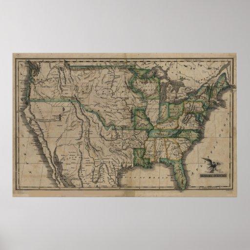 Mapa 1823 de los Estados Unidos Poster