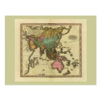 Mapa 1825 de Asia de Henry Tanner Tarjeta Postal