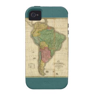 Mapa 1826 de Suramérica del vintage de Anthony Fin Case-Mate iPhone 4 Carcasas