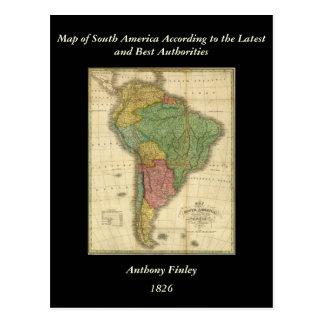 Mapa 1826 de Suramérica del vintage de Anthony Fin Tarjetas Postales