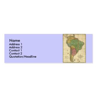 Mapa 1826 de Suramérica del vintage de Anthony Tarjetas De Visita Mini