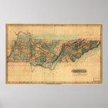 Mapa 1826 de Tennessee Poster