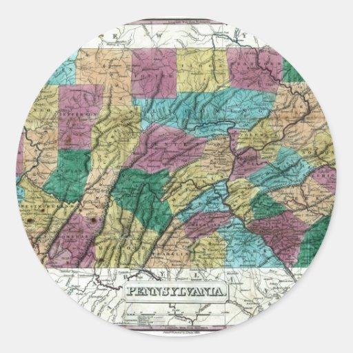 Mapa 1829 de Pennsylvania Pegatina Redonda