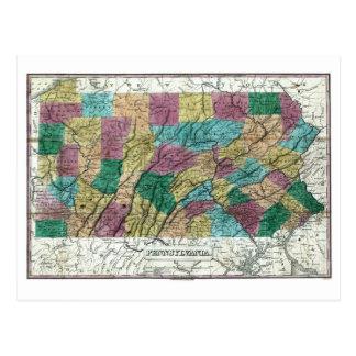 Mapa 1829 de Pennsylvania Postal