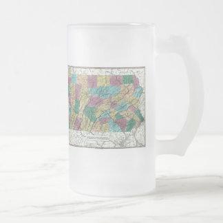 Mapa 1829 de Pennsylvania Taza De Cristal