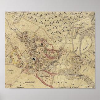 Mapa 1831 de Brennberg Alemania Posters