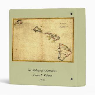 """Mapa 1837 - islas hawaianas de Hawaii del vintage Carpeta 1"""""""