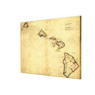 Mapa 1837 - islas hawaianas de Hawaii del vintage Impresión En Lona Estirada
