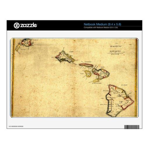 Mapa 1837 - islas hawaianas de Hawaii del vintage Netbook Mediano Calcomanía