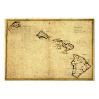 Mapa 1837 - islas hawaianas de Hawaii del vintage Impresiones