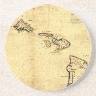 Mapa 1837 - islas hawaianas de Hawaii del vintage Posavasos Para Bebidas