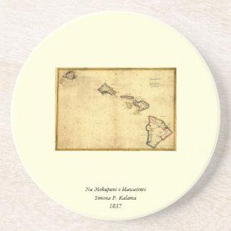 Mapa 1837 - islas hawaianas de Hawaii del vintage Posavasos Personalizados