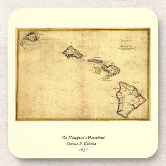 Mapa 1837 - islas hawaianas de Hawaii del vintage Posavasos De Bebida