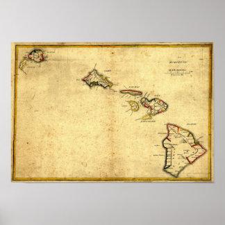Mapa 1837 - islas hawaianas de Hawaii del vintage Póster