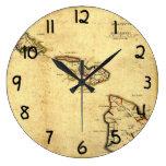 Mapa 1837 - islas hawaianas de Hawaii del vintage Reloj De Pared