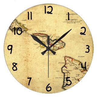 Mapa 1837 - islas hawaianas de Hawaii del vintage Reloj Redondo Grande