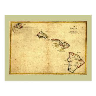 Mapa 1837 - islas hawaianas de Hawaii del vintage Postales