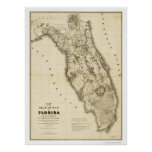 Mapa 1839 de la Florida de la guerra del Seminole Póster