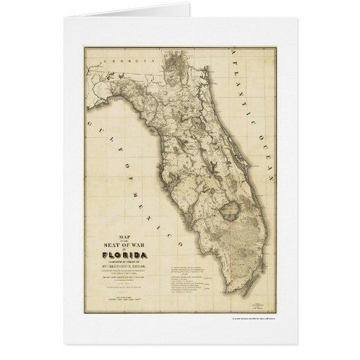 Mapa 1839 de la Florida de la guerra del Seminole Tarjeta De Felicitación