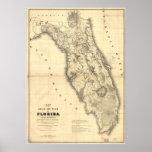 Mapa 1839 de la Florida Poster