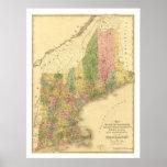 Mapa 1839 de los estados de Nueva Inglaterra Impresiones