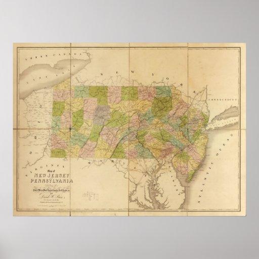 Mapa 1839 de New Jersey y de Pennsylvania Posters