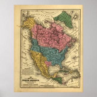 Mapa 1839 de Norteamérica Póster