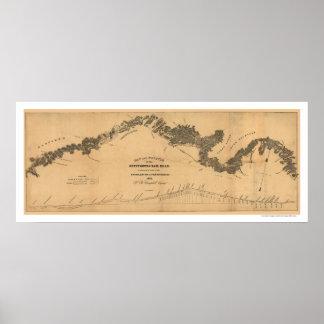 Mapa 1839 del ferrocarril de Gettysburg Posters