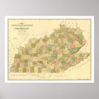 Mapa 1839 del ferrocarril de Kentucky y de Tenness Poster
