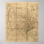 Mapa 1841 de la República de Tejas Poster