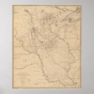 Mapa 1843 del río Misisipi Impresiones