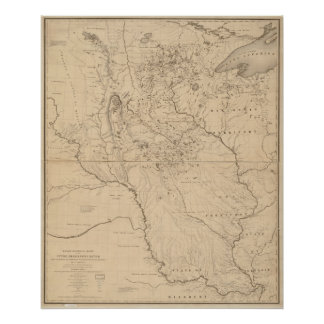 Mapa 1843 del río Misisipi Póster