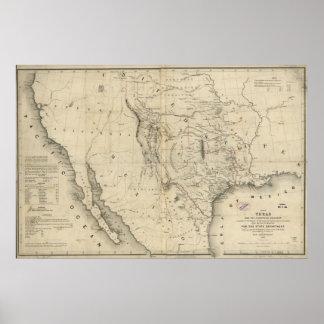 Mapa 1844 de la república de Tejas y de los países Poster