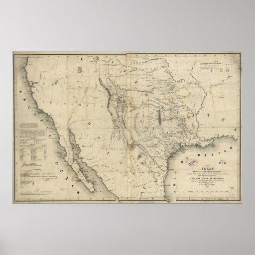 Mapa 1844 de la república de Tejas y de los países Póster