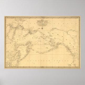 Mapa 1844 de Rusia y de Alaska en ruso Póster