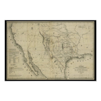 Mapa 1844 de Tejas y los países adyacentes Posters
