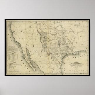 Mapa 1844 de Tejas y los países adyacentes Póster