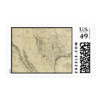 Mapa 1844 de Tejas y los países adyacentes Franqueo