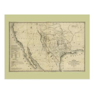 Mapa 1844 de Tejas y los países adyacentes Postal