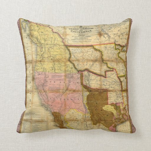 Mapa 1846 de Tejas Oregon California de un Mitchel Cojines