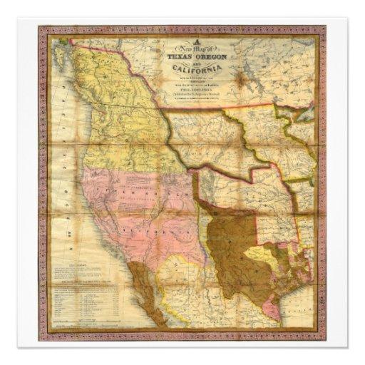 Mapa 1846 de Tejas Oregon California de un Mitchel Anuncios
