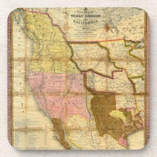 Mapa 1846 de Tejas Oregon California de un Posavaso