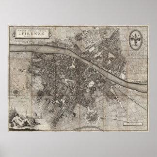 Mapa 1847 de bolsillo de Molini de Florencia Itali Poster