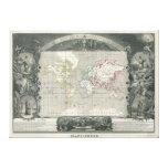Mapa 1847 de Levasseur del vencedor del planisferi Impresion En Lona