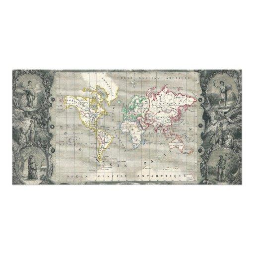 Mapa 1847 de Levasseur del vencedor del planisferi Tarjetas Fotográficas