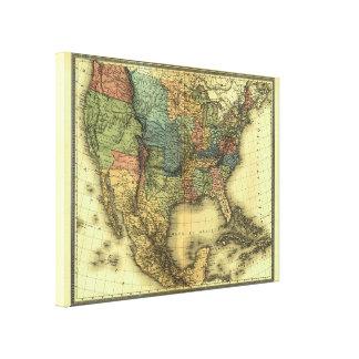 Mapa 1848 de Thunot Duvotenay:  Etats-Unis y Impresión En Lona Estirada