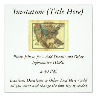 Mapa 1848 de Thunot Duvotenay:  Etats-Unis y Invitación 13,3 Cm X 13,3cm