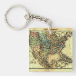 Mapa 1848 de Thunot Duvotenay:  Etats-Unis y Llavero Cuadrado Acrílico A Doble Cara