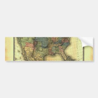 Mapa 1848 de Thunot Duvotenay:  Etats-Unis y Mexiq Pegatina De Parachoque