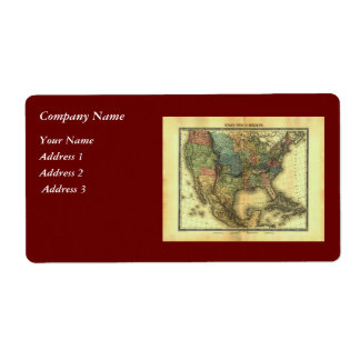 Mapa 1848 de Thunot Duvotenay:  Etats-Unis y Mexiq Etiquetas De Envío